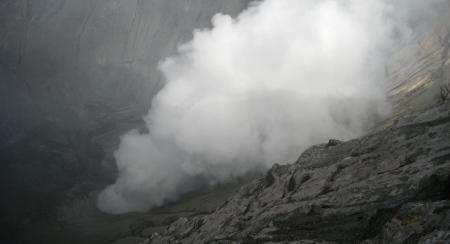 Parte interior del crater del volcan Bromo.